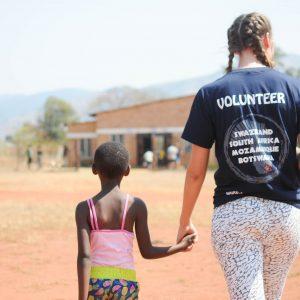 Volunteer and child Eswatini (Swaziland) School